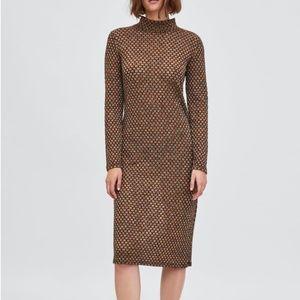 Zara Metallic Rust Teal Long Sleeve Dress